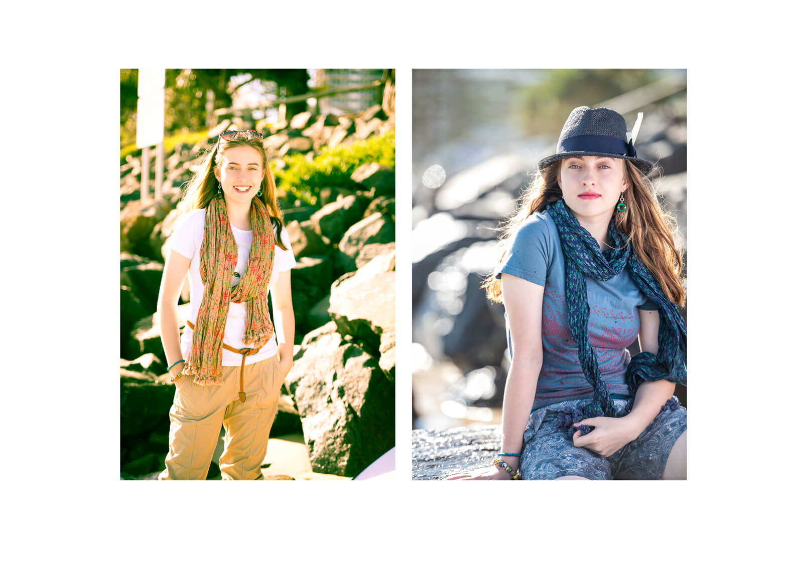 Girl wearing scarf in family photos