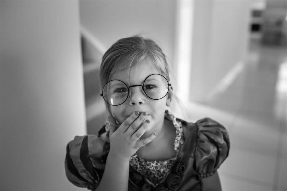 Little girl in Harry Potter glasses