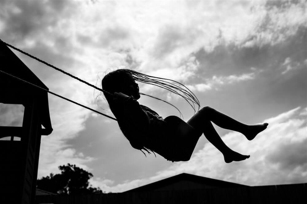 Little girl on the swings